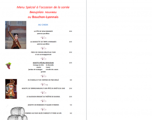 menu, dîner, repas, restaurant, bouchon-lyonnais, 13005, marseille, Marseille, bouchon, cuisine lyonnaise, théâtre, théâtre du Têtard, têtard, tetard, café-théâtre, beaujolais, beaujolais nouveau