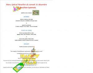réveillon, menu spécial, menu du 31 décembre, bouchon lyonnais