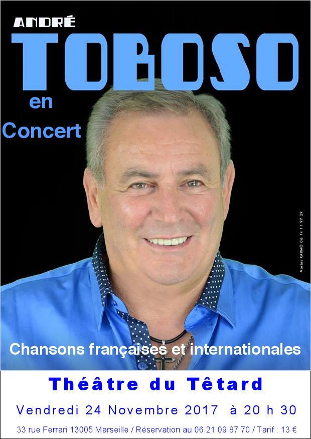chanteur, Toboso, André Toboso, chansons françaises, chansons internationales, concert, théâtre du Têtard