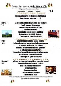 menu, diner-spectacle, dîner, repas, restaurant, bouchon-lyonnais, 13005, marseille, Marseille, bouchon, cuisine lyonnaise, théâtre, théâtre du Têtard, têtard, tetard, café-théâtre, théâtre-restaurant