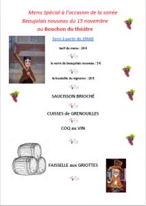 menu repas Beaujolais 2018