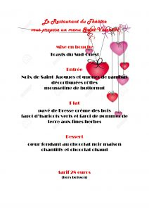 Menu spécial de la Saint-Valentin