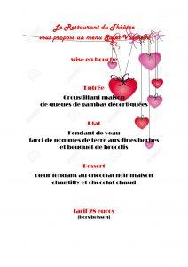 Menu spécial de la Saint-Valentin 2020